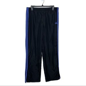 ADIDAS Black Track Pants With Blue Stripes